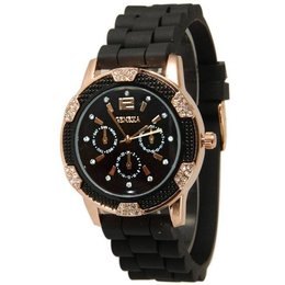 - Horloge met zwart silicone band met kristalen rose gold tone