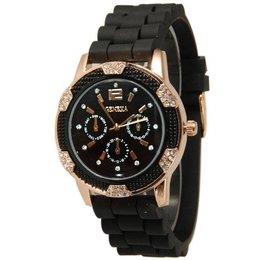 Horloge met zwart silicone band met kristalen rose gold tone