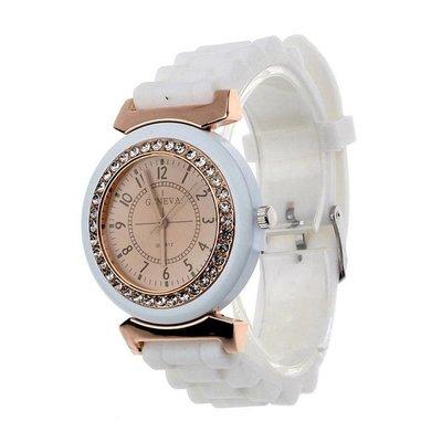 Horloge met wit silicone band met een rij kristalen rose gold tone