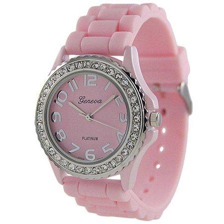 Horloge met roze silicone band met een rij kristalen rose gold tone
