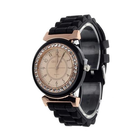 Watch black silicone strap with a row Crystals rosé gold tone