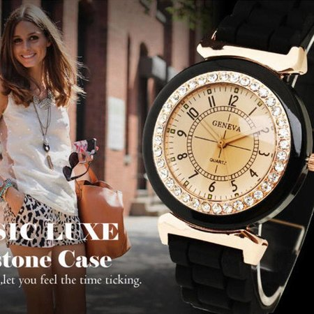 Horloge zwart silicone band met een rij kristalen rosé gold