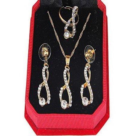 Leuke sieraden set goud kleur met berg kristalen ketting