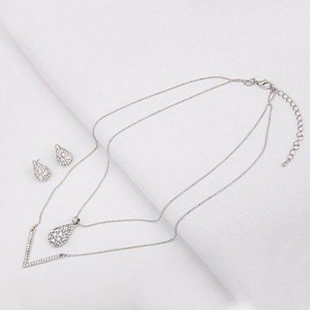 Kettingen met oorbellen  silver kleur met april diamant
