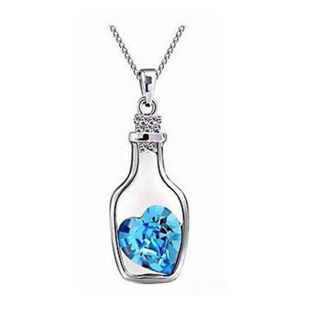 Schattig- sterling zilver ketting met hangertje blauw