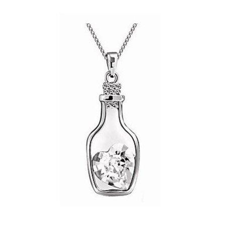 Schattig- sterling zilver ketting met hangertje wit