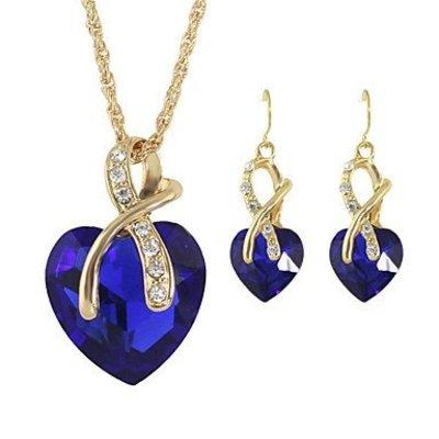 Ketting blauwe hart hangertje oorbellen in hart vorm