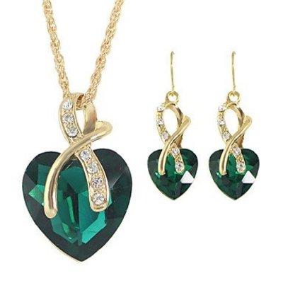 Ketting met hangertje oorbellen groen kristal hart vorm