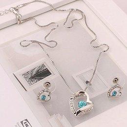 Ketting blauw kristal hart hangertje oorbellen in hart vorm zilver kleur