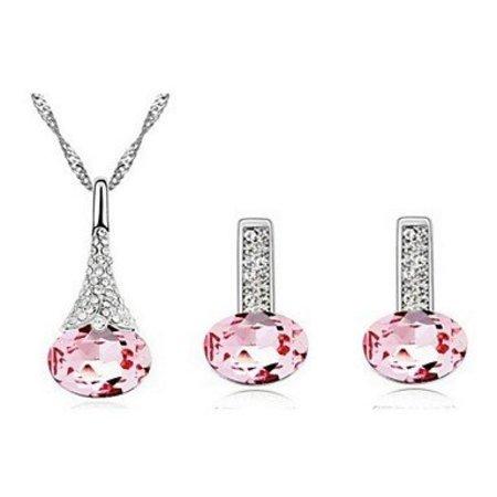 Roze kristalen zilver kleur ketting met hanger, oorbellen