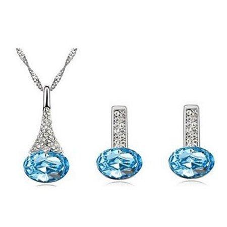Blauwe kristalen zilver kleur ketting met hanger, oorbellen