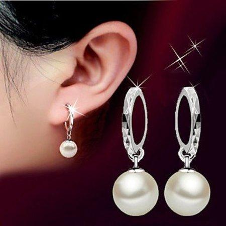 Sterling zilver druppel oorbellen met parel