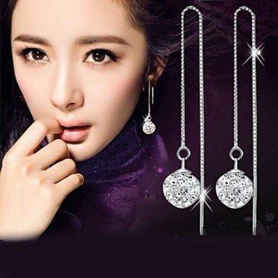 Sterling zilver druppel oorbellen met imitatie diamant