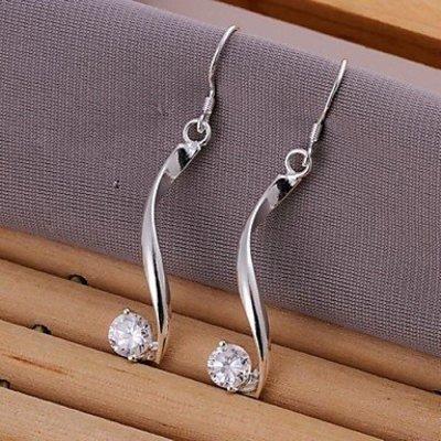 Elegante Sterling zilver oorbellen druppel met zirkonia
