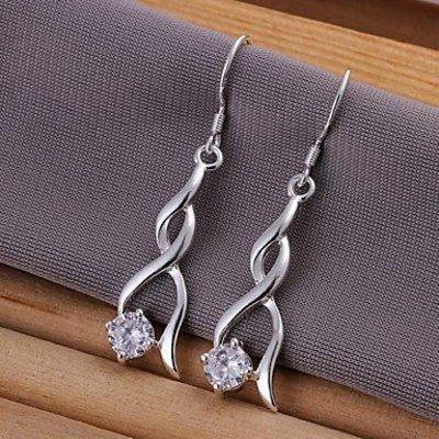 Elegante Sterling zilver oorbellen druppel gevlochten met zirkonia