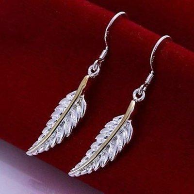 Elegante Sterling zilver oorbellen druppel met veer