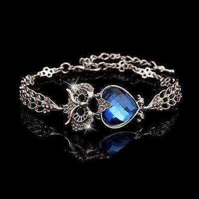 Armband met ketting / sluiting/Vintage Marine blauw kubieke zirkonia