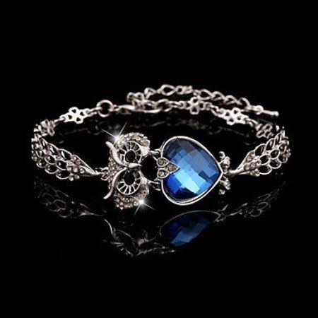 Armband met verzilverde ketting sluiting/Vintage Marine blauw kubieke zirkonia