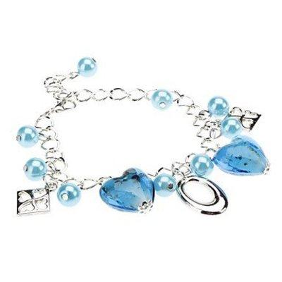 Armband met kralen zilver met blauw kleur