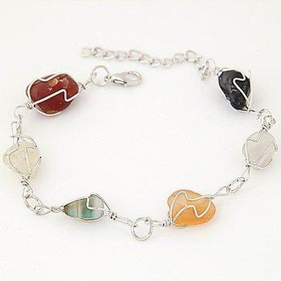 Armband met kralen zilver met veelkleuren