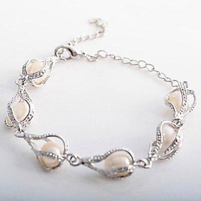 Druppel parel armband zilver kleur