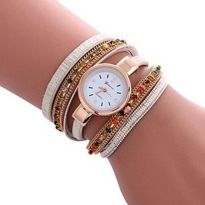 Trendy armbandhorloge goud-rosé wit kleur