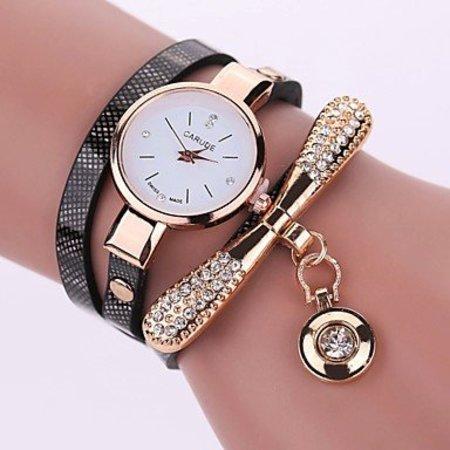 Modieuze dames horloge met zwart goud kleur kwarts
