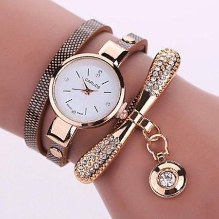 Modieuze dames horloge met bruin goud kleur kwarts