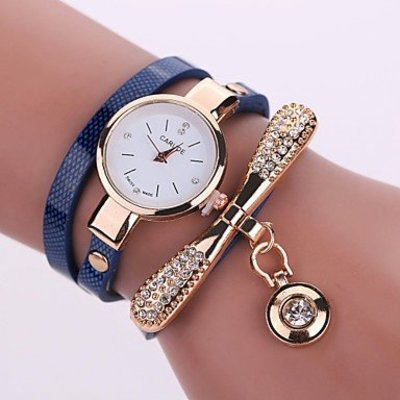 Modieuze dames horloge donker blauw goud kleur