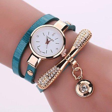 Modieuze dames horloge licht blauw, goud kleur kwarts