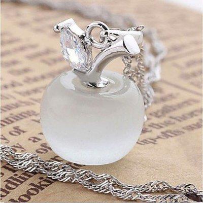 Trendy ketting sterling zilver met hangertje wit appeltje