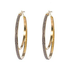 Oorbellen ringen goud kleur dubbel ring met kristallen