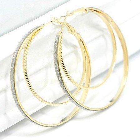Oorbellen ringen in goud kleur dubbele ringen kristallen