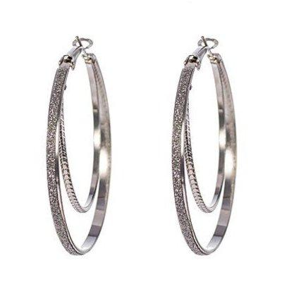 Oorbellen ringen zilver kleur dubbel ring met kristallen