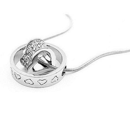 Sterling zilver ketting met hangertjes versierd met kristallen