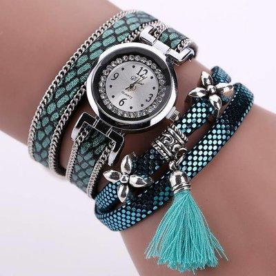 Retro bohemien armbanden horloge zilver met groene print