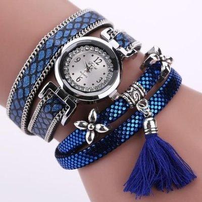 Retro bohemien armbanden horloge zilver met donker blauw paars print