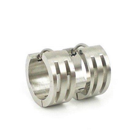 Oorbellen ring van Titanium staal zilver kleur