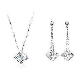 Trendy sieraden set in zilver kleur met zirkonia