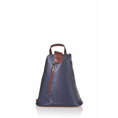 Trendy rugzak van kalfsleder in donker blauw met bruin