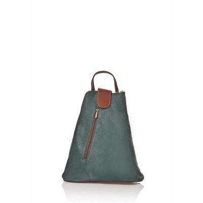 Trendy rugzak van kalfsleder donker groen met bruin