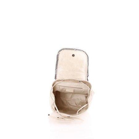 Retro rugzak in leder suède versierd met een metalen ketting