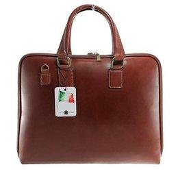 Laptop tassen van soepele leder aktetas donker cognac kleur