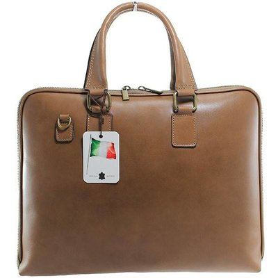 Laptop bags - briefcase Taupe color smooth leather