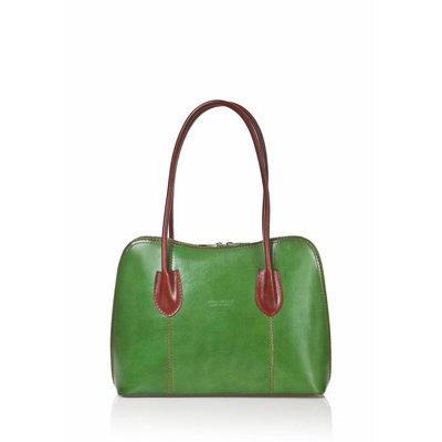 - Leder handtas in Groen met Bruin kleur uit Italië