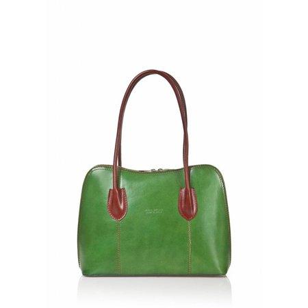 Schouder tas-handtas leder dubbel handvat groen bruin kleur uit Italië