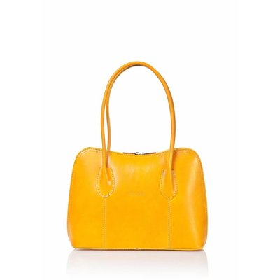 Leder handtas in geel kleur uit Italië