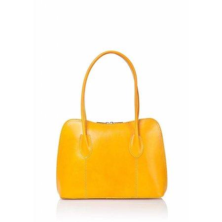 Schouder tas-handtas soepel leder dubbel handvat geel kleur uit Italië