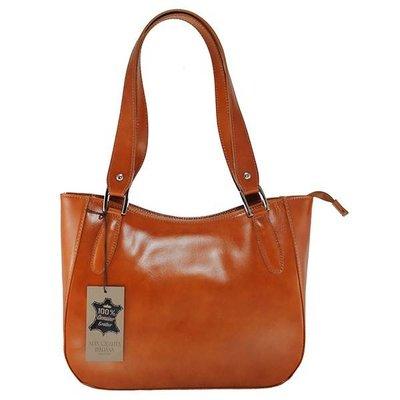 Elegante klassieke model handtas of schoudertas cognac kleur