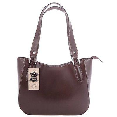 Elegante klassieke model handtas of schoudertas donker bruin kleur